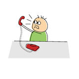 Upset cartoon character arguing over the telephone Royalty Free Stock Images