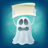 Upset cartoon ghost with banner. Halloween party design element Stock Image