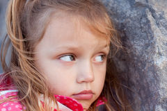 Upset child. Portrait of a sad child Stock Photos
