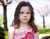 Upset child outside Royalty Free Stock Image