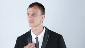 Upset ,confused ,frustrated young business man stock footage