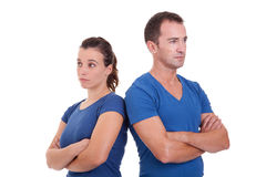 Upset couple, back to back Royalty Free Stock Photography