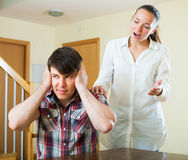 Upset couple during conflict Stock Images