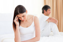 Upset couple after having a row