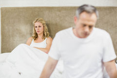 Upset couple sulking each other Royalty Free Stock Images