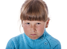 Upset cranky girl. Standing crossed hands isolated on white background Royalty Free Stock Photos