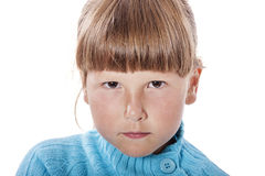 Upset cranky girl. Standing crossed hands isolated on white background Stock Photo