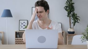Upset Creative Man In Frustration for Results of Work on Laptop. 4k , high quality stock footage