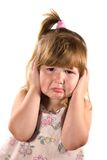 Upset almost crying girl. Upset almost crying little girl afraid of smth isolated on white Stock Images