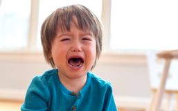 Crying toddler boy. Upset crying and mad little toddler boy royalty free stock photo