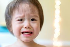 Crying toddler boy. Upset crying and mad multi-ethnic toddler boy royalty free stock photography