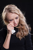 Upset crying woman. tragic expression. Stock Photo