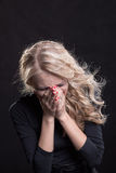 Upset crying woman. tragic expression. Royalty Free Stock Images