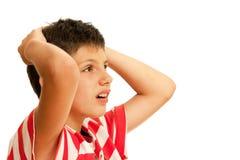 Upset del ragazzo del ventilatore per la sua squadra favorita persa Immagini Stock Libere da Diritti