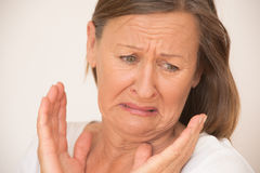 Upset disgusted woman in shock Stock Image