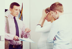 Upset family meeting social worker Royalty Free Stock Images