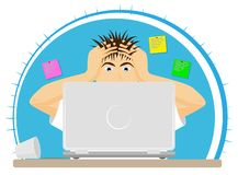 Upset or frightened man at the computer grabbed his head. The bad news. Big mistake or problem. stock image