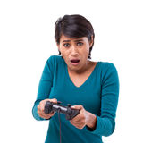Upset, frustrated female gamer losing the video game Royalty Free Stock Image