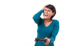 Upset, frustrated female gamer Royalty Free Stock Images