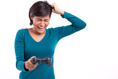 Upset, frustrated female gamer Royalty Free Stock Photo