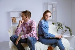 Upset frustrated girlfriend thinking of family conflicts after fight with girlfriend, sad thoughtful wife disappointed. In bad marriage relationships tired or stock image