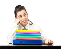 Upset girl in the office at work. isolated Royalty Free Stock Image