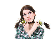 Upset girl with pigtails Royalty Free Stock Photo
