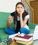 Upset girl study at home Royalty Free Stock Photography