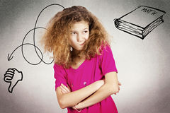 Upset, grumpy, unhappy little girl Royalty Free Stock Photo