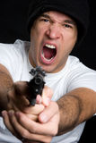 Upset Gun Man Stock Photo