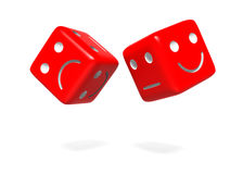 Upset and Happy Dice. 3D Rendering Stock Image