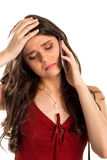 Upset lady holds cell phone. Royalty Free Stock Images