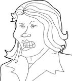 Upset Lady Illustration. Outline of offended Hispanic female with clenched teeth Stock Image