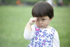 Upset little asian girl Royalty Free Stock Photography