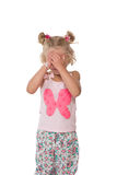 Upset little blonde girl Royalty Free Stock Images