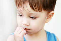 Upset little boy Royalty Free Stock Photos