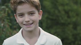 Smiling cute little boy stock video footage