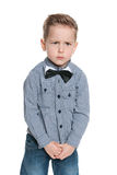 An upset little boy royalty free stock image