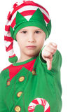 Upset little elf. Portrait of an upset little elf on isolated white royalty free stock image