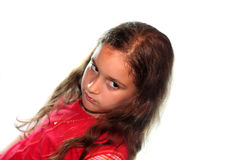 Upset Little Girl. An upset little girl on a white background Royalty Free Stock Photography