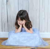 Upset Little Girl With Hands On Face Stock Photo