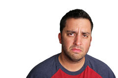 Upset Man. Portrait of a man whose expression reflects being upset Royalty Free Stock Image