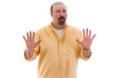Upset man guarding his privacy Stock Images