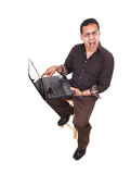 Upset man with laptop. Stock Photo