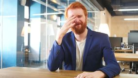 Upset Man in Office after Failure, Red Hairs. Designer , young man , handsome stock video