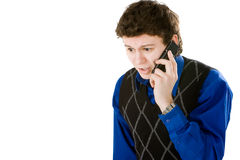 Upset man talking with mobile phone Stock Images