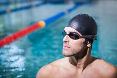 Upset man wearing swimming goggles Stock Image