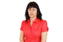 Upset middle age woman. Middle age woman looking upset or angry Royalty Free Stock Photos