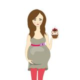 Upset a pregnant woman with cake, vector Royalty Free Stock Photos