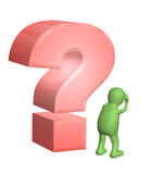 Upset puppet and question mark Stock Photos